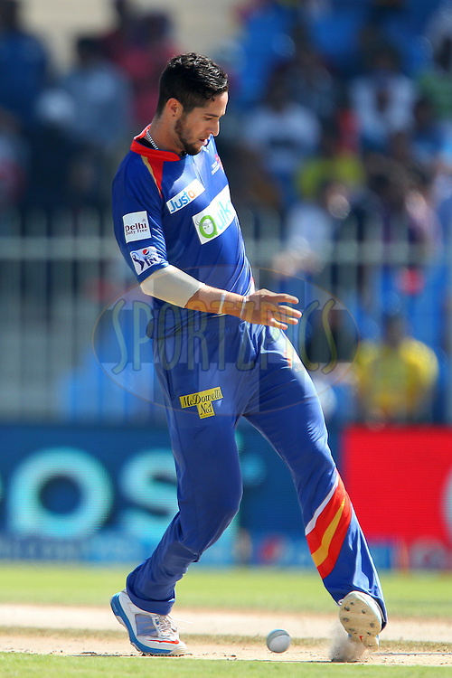 Wayne Parnell of the Delhi Daredevils during match 16 of the Pepsi Indian Premier League 2014 between the Delhi Daredevils and the Mumbai Indians held at the Sharjah Cricket Stadium, Sharjah, United Arab Emirates on the 27th April 2014<br /> <br /> Photo by Ron Gaunt / IPL / SPORTZPICS