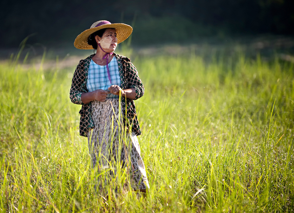 A farm girl at Bagan, Myanmar.