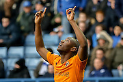 Wolverhampton Wanderers striker Benik Afobe  celebrates his goal during the Sky Bet Championship match between Sheffield Wednesday and Wolverhampton Wanderers at Hillsborough, Sheffield, England on 20 December 2015. Photo by Simon Davies.