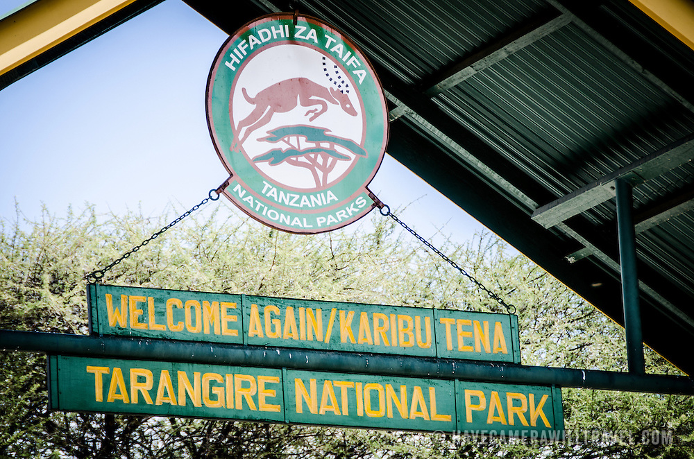 Sign overhead at the main entrance to Tarangire National Park in northern Tanzania.