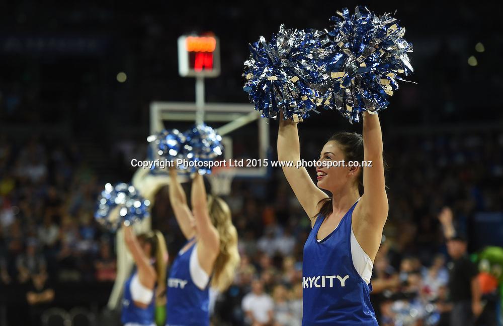 Cheerleaders during the SkyCity Breakers v Cairns Taipans match. 2014/15 ANBL Basketball Season. Vector Arena, Auckland, New Zealand. Sunday 22 February 2015. Copyright Photo: Andrew Cornaga / www.photosport.co.nz