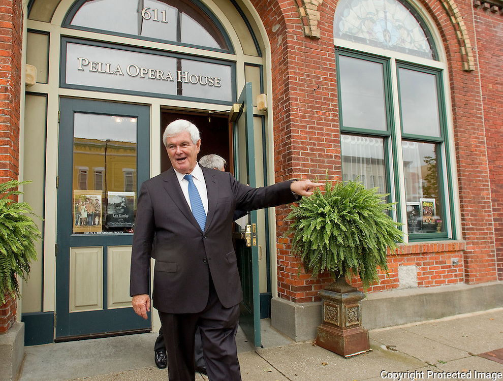 Former House Speaker Newt Gingrich leaves the Pella Opera House after speaking to area business leaders in Pella, Iowa on Thursday September 9, 2010. (Stephen Mally for The New York Times)