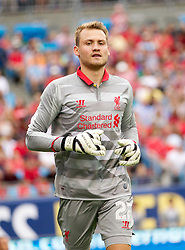 CHARLOTTE, USA - Saturday, August 2, 2014: Liverpool's goalkeeper Simon Mignolet in action against AC Milan during the International Champions Cup Group B match at the Bank of America Stadium on day thirteen of the club's USA Tour. (Pic by Mark Davison/Propaganda)