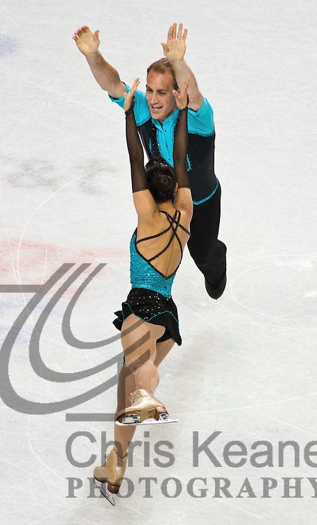 27 January 2011: Mark Ladwig and Amanda Evora skate during the pairs short program at the 2011 U.S. Figure Skating Championships at Greensboro Coliseum in Greensboro, North Carolina on January 27, 2011. FOR EDITORIAL USE ONLY. Chris Keane Photography reserves the right to pursue unauthorized users of this image. If you violate our intellectual property you may be liable for: actual damages, loss of income, and profits you derive from the use of this image, and, where appropriate, the costs of collection and/or statutory damages up to $150,000 (USD).