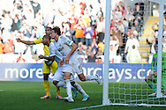 Swansea city's Michu (9) celebrates after he scores his sides 1st goal. Barclays Premier league, Swansea city v Reading at the Liberty Stadium in Swansea, South Wales on Saturday 6th October 2012.   pic by  Andrew Orchard, Andrew Orchard sports photography,