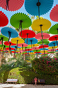 Colourful parasols strung up together over a park on a blue sky background