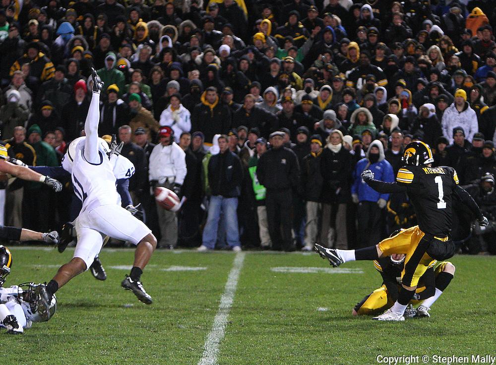 08 NOVEMBER 2008: Iowa kicker Daniel Murray (1) kicks the game winning 31 yard field goal in the second half of an NCAA college football game against Penn State, at Kinnick Stadium in Iowa City, Iowa on Saturday Nov. 8, 2008. Iowa beat Penn State 24-23.