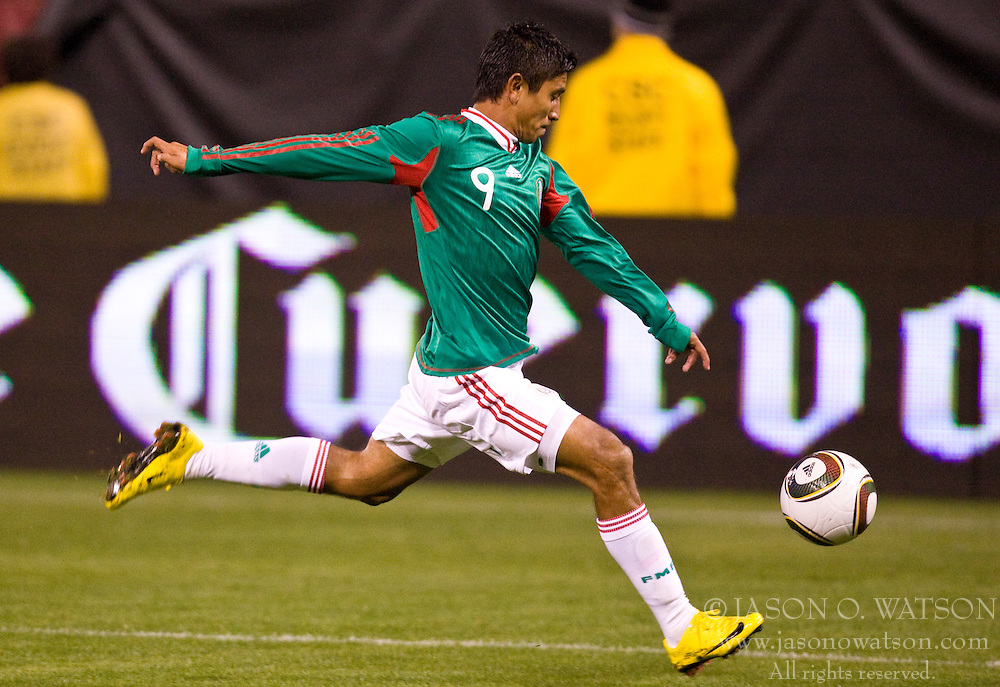 February 24, 2010; San Francisco, CA, USA;  Mexico forward Alberto Medina (9) shoots against Bolivia during the second half at Candlestick Park. Mexico defeated Bolivia 5-0.