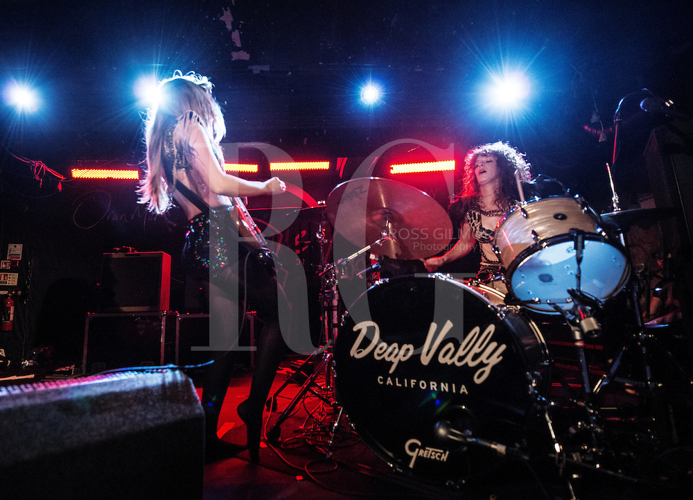Lindsey Troy and Julie Edwards of Deap Vally performs at Oran Mor in Glasgow, Scotland, UNITED KINGDOM - NOVEMBER 12: 2013