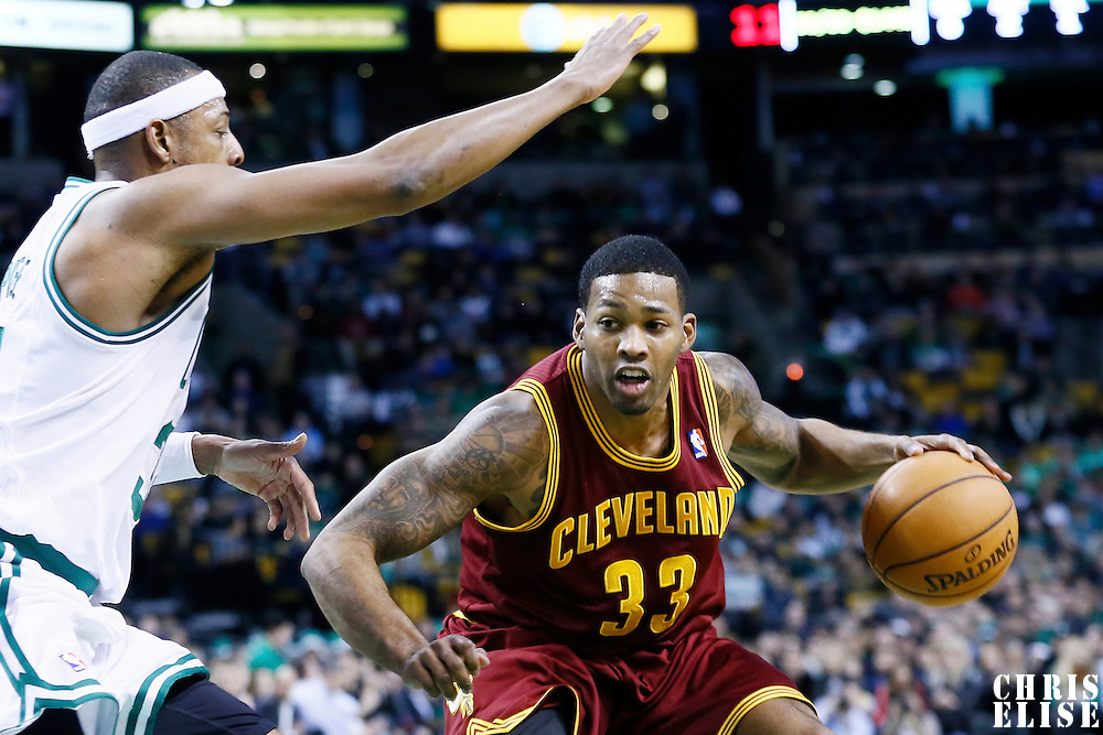 19 December 2012: Cleveland Cavaliers small forward Alonzo Gee (33) drives past Boston Celtics small forward Paul Pierce (34) during the Boston Celtics 103-91 victory over the Cleveland Cavaliers at the TD Garden, Boston, Massachusetts, USA.