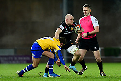 Matt Kvesic of Exeter Braves is challenged by Alex Davies of Bath United  - Mandatory by-line: Ryan Hiscott/JMP - 16/12/2019 - RUGBY - Sandy Park - Exeter, England - Exeter Braves v Bath United - Premiership Rugby Shield