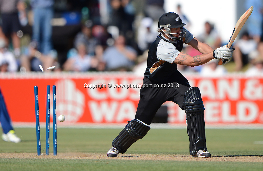 Doug Bracewell is bowled. Twenty20 Cricket. England v NZ XI. England Cricket tour to New Zealand. Cobham Oval. Whangarei, New Zealand on Wednesday 6 February 2013. Photo: Andrew Cornaga/Photosport.co.nz
