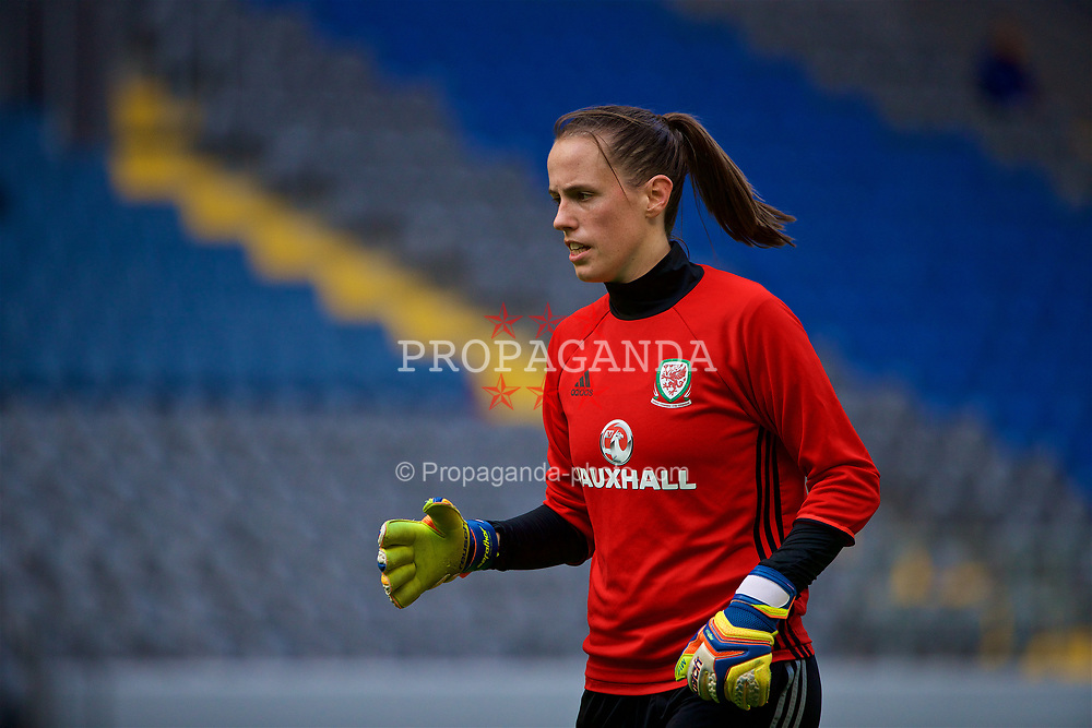 ASTANA, KAZAKHSTAN - Friday, September 15, 2017: Wales' goalkeeper Laura O'Sullivan training at the Astana Arena ahead of the FIFA Women's World Cup 2019 Qualifying Round Group 1 match against Kazakhstan. (Pic by David Rawcliffe/Propaganda)