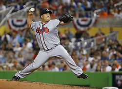 April 10, 2017 - Miami, FL, USA - Atlanta Braves pitcher Bartolo Colon works during the third inning against the Miami Marlins at Marlins Park in Miami on Tuesday, April 11, 2017. (Credit Image: © David Santiago/TNS via ZUMA Wire)