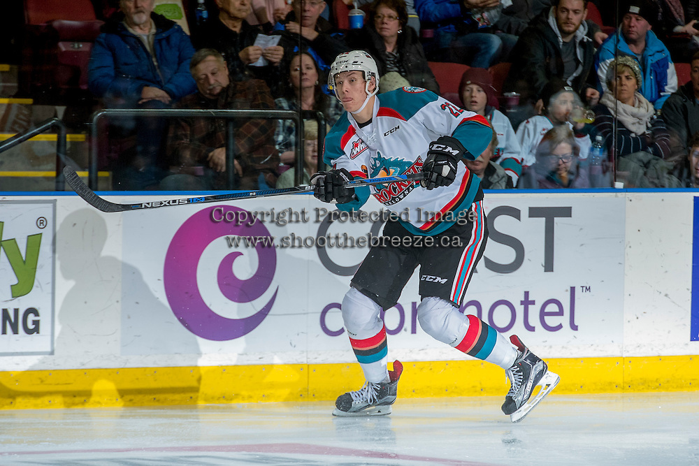 KELOWNA, CANADA - DECEMBER 27: Braydyn Chizen #22 of the Kelowna Rockets passes the puck against the Kamloops Blazers on December 27, 2016 at Prospera Place in Kelowna, British Columbia, Canada.  (Photo by Marissa Baecker/Shoot the Breeze)  *** Local Caption ***