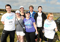 A weekend of glorious weather welcomed approximately 150 people from all over the country and abroad to Inis Mor , Arann Islands to participate in the annual Aer Arann half marathon.  Over the past ten years people have walked and ran the roads of Inis Mor to raise in excess of 1.2 million to purchase vital life saving equipment for sick children in both Crumlin and Temple Street hospitals.   Malachy McNulty, Niamh Moore, Lorraine Oglesby, Sinead Graham, Ollie and Caitriona Plunkett and Angie McNulty all from Dublin who took part in the event    . Photo:Andrew Downes.