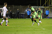 Forest Green Rovers Marcus Kelly(10) shoots at goal scores a goal 1-5 during the Friendly match between Weston Super Mare and Forest Green Rovers at the Woodspring Stadium, Weston Super Mare, United Kingdom on 11 October 2016. Photo by Shane Healey.