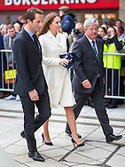 Her Royal Highness the Duchess of Cambridge leaves a reception at the Spinnaker Tower in Portsmouth with Sir Ben Ainslie and Sir Keith Mills (right) which she attended in her capacity as patron of the 1851 Trust. The trust aims to inspire young people into sailing and the marine industry. <br /> Picture date: Thursday February 12, 2015.<br /> Photograph by Christopher Ison &copy;<br /> 07544044177<br /> chris@christopherison.com<br /> www.christopherison.com
