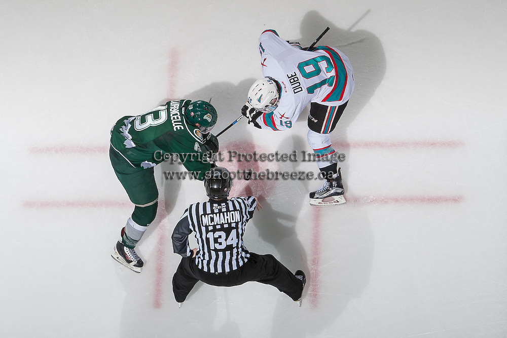 KELOWNA, CANADA - DECEMBER 30: Remi Laurencelle #13 of Everett Silvertips faces off against Dillon Dube #19 of Kelowna Rockets on December 30, 2015 at Prospera Place in Kelowna, British Columbia, Canada.  (Photo by Marissa Baecker/Shoot the Breeze)  *** Local Caption *** Dillon Dube; Remi Laurencelle;