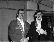 National Junior Boxing Championships<br /> T Bruce, Sandymount at National Junior Boxing Championships, Heavyweight runner up.<br /> On left is J. Robinson (South City) Heavyweight semi final winner.<br /> 18/12/1952