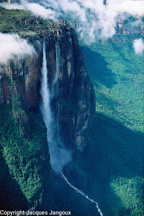 Aerial of Angel Falls, highest waterfall in the world (979m) at Auyantepui table mountain, Canaima National Park, Venezuela, Bolivar State.