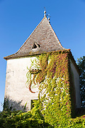 Creeper clad traditional French architecture tower in Aquitaine, France