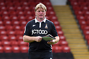 Bradford City first team manager Stuart McCall inspects the pitch during the EFL Sky Bet League 1 match between Walsall and Bradford City at the Banks's Stadium, Walsall, England on 26 August 2017. Photo by Alan Franklin.
