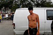 Bob Andre, 26, from Washington, D.C., took part in the protests through the streets during the 2012 Republican National Convention on August 27, 2012 in Tampa, Fla.