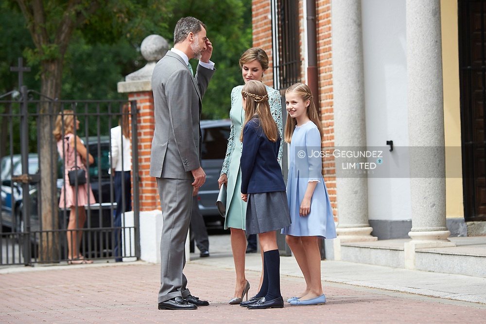 King Felipe VI of Spain, Queen Letizia of Spain, Princess Sofia, Crown Princess Leonor leave Asuncion de Nuestra Senora Church after the First Communion of Princess Sofia on May 17, 2017 in Aravaca near of Madrid.