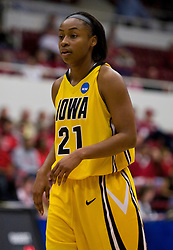 March 20, 2010; Stanford, CA, USA;  Iowa Hawkeyes guard Kachine Alexander (21) during the first half against the Rutgers Scarlet Knights in the first round of the 2010 NCAA womens basketball tournament at Maples Pavilion. Iowa defeated Rutgers 70-63.