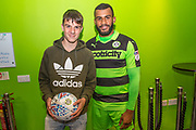Match sponsor Kerry Maintanence with man of the match Forest Green Rovers Dan Wishart(17) during the EFL Trophy match between Forest Green Rovers and Newport County at the New Lawn, Forest Green, United Kingdom on 29 August 2017. Photo by Shane Healey.