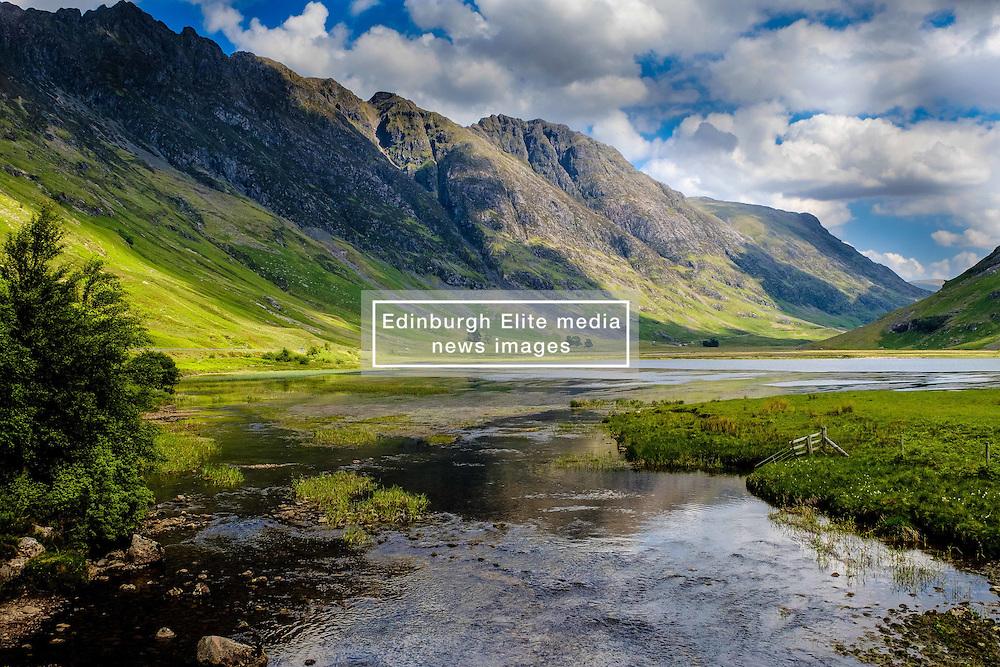 The River Coe flowing into Loch Achtriochtan in Glencoe, Highlands of Scotland<br /> <br /> (c) Andrew Wilson | Edinburgh Elite media