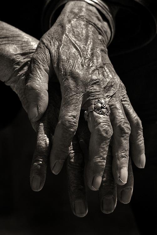A Hani womans hands in Yuanyang, China.