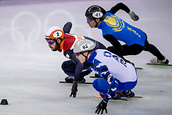 20-02-2018 KOR: Olympic Games day 11, PyeongChang<br /> 500m mannen shorttrack / Nurbergen Zhumagaziyev of Kazakhstan, Sjinkie Knegt of the Netherlands, Aleksandr Shulginov of Olympic Athlete from Russia