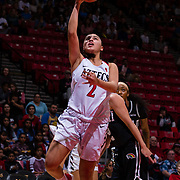 09 November 2018: San Diego State Aztecs guard Sophia Ramos (2) lays the ball up for two points in the first quarter. The Aztecs opened up it's regular season schedule with a 58-57 win over Hawaii Friday at Viejas Arena.