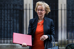 © Licensed to London News Pictures. 13/03/2018. London, UK. Leader of the House of Commons Andrea Leadsom leaves 10 Downing Street after a meeting of the Cabinet. Photo credit: Rob Pinney/LNP