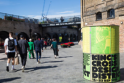 London, UK. 13 September, 2019. Marketing for Kings Cross Design District in Coal Drops Yard.