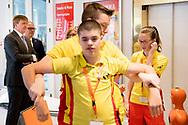 WASSENAAR - King Willem-Alexander in conversation with volunteer rescuers and staff of the Rescue Brigade during the celebration of the 100th anniversary of Reddingsbrigade Nederland. copyright robin utrecht <br /> WASSENAAR - Koning Willem-Alexander in gesprek met vrijwillige redders en medewerkers van de Reddingsbrigade tijdens de viering van het honderdjarig jubileum van Reddingsbrigade Nederland.  copyright robin utrecht