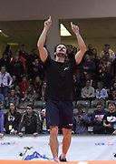 Jan 18, 2019; Reno, NV, USA; Baptiste Boirie,(FRA) celebrates during the UCS Spirit National Pole Vault Summit at the Reno-Sparks  Livestock Events Center.