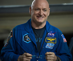 Expedition 46 Commander Scott Kelly of NASA is seen after returning to Ellington Field, Thursday, March 3, 2016 in Houston, Texas after his return to Earth the previous day. Kelly and Flight Engineers Mikhail Kornienko and Sergey Volkov of Roscosmos landed in their Soyuz TMA-18M capsule in Kazakhstan on March 1 (Eastern time). Kelly and Kornienko completed an International Space Station record year-long mission as members of Expeditions 43, 44, 45, and 46 to collect valuable data on the effect of long duration weightlessness on the human body that will be used to formulate a human mission to Mars.  Volkov returned after spending six months on the station.  Photo Credit: (NASA/Joel Kowsky)