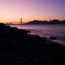 View of the Golden Gate Bridge from Beach at Sunset, San Francisco, USA