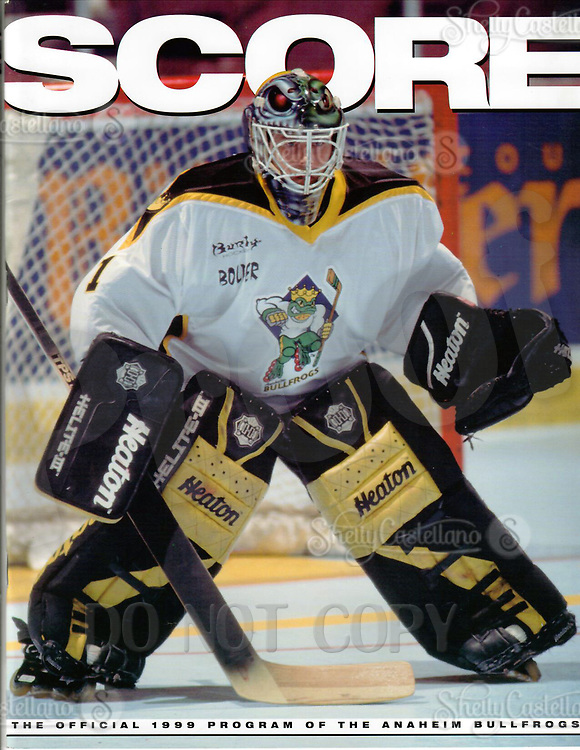 1999 RHI Anaheim Bullfrogs program.  Goalie Rob Laure on the cover of SCORE magazine.