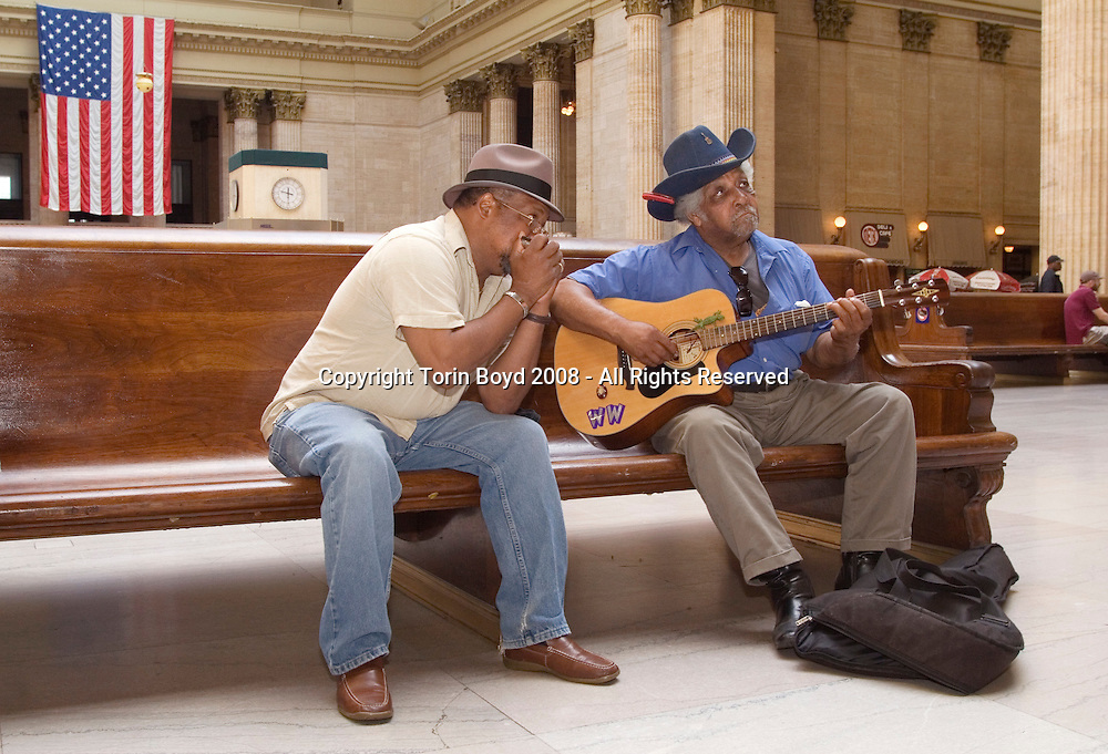 Chicago's Union Station: layover while waiting for the Empire Builder train during train journey from Washington DC (suburbs) to Washington State with Piedmont Style blues artisrts Warner Williams and Jay Summerour.