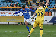 Eastleigh FC Midfielder Jai Reason shoots for goal during the Vanarama National League match between Southport and Eastleigh at the Merseyrail Community Stadium, Southport, United Kingdom on 17 December 2016. Photo by Pete Burns.