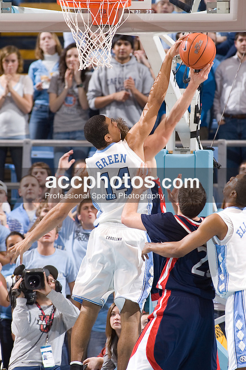 03 January 2007: North Carolina Tar Heels forward (14) Danny Green during a North Carolina Tar Heels 102-64 win over the Pennsylvania Quakers at the Dean Smith Center in Chapel Hill, NC.<br />
