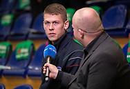 HÅNDBOLD: Johan Meklenborg (Nordsjælland) giver interview til TV2 Sport før kampen i Herre Håndbold Ligaen mellem TMS Ringsted og Nordsjælland Håndbold den 25. februar 2019 i Ringsted Sportscenter. Foto: Claus Birch.