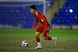 BIRKHENHEAD, ENGLAND - Monday, February 28, 2011: Liverpool's 'Suso' Jesus Fernandez Saez in action against Blackburn Rovers during the FA Premiership Reserves League (Northern Division) match at Prenton Park. (Photo by David Rawcliffe/Propaganda)