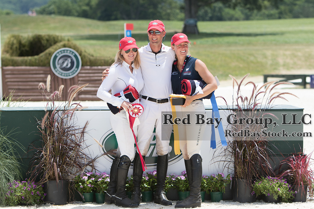 (From L to R): Marilyn Little (USA), Clark Montgomery (USA) and Jodie Amos (GBR), Individual winners at the 2016 Land Rover Great Meadow International, at the Great Meadow Foundation in The Plains, VA on Sunday, July 10, 2016.