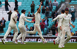 September 11, 2018 - London, Greater London, United Kingdom - James Anderson became the latest England paceman to make history at the Oval on Tuesday by setting a new record for the most wickets taken by any fast bowler in test history..during International Specsavers Test Series 5th Test match Day Five  between England and India at Kia Oval  Ground, London, England on 11 Sept 2018. (Credit Image: © Action Foto Sport/NurPhoto/ZUMA Press)