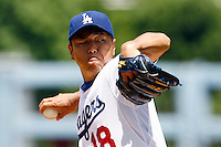 19 July 2009: Pitcher #18 Hiroki Kuroda during the MLB Los Angeles Dodgers 4-3 win over the Houston Astros on a warm summer day in LA at Chavez Ravine during a National League Professional Baseball game.